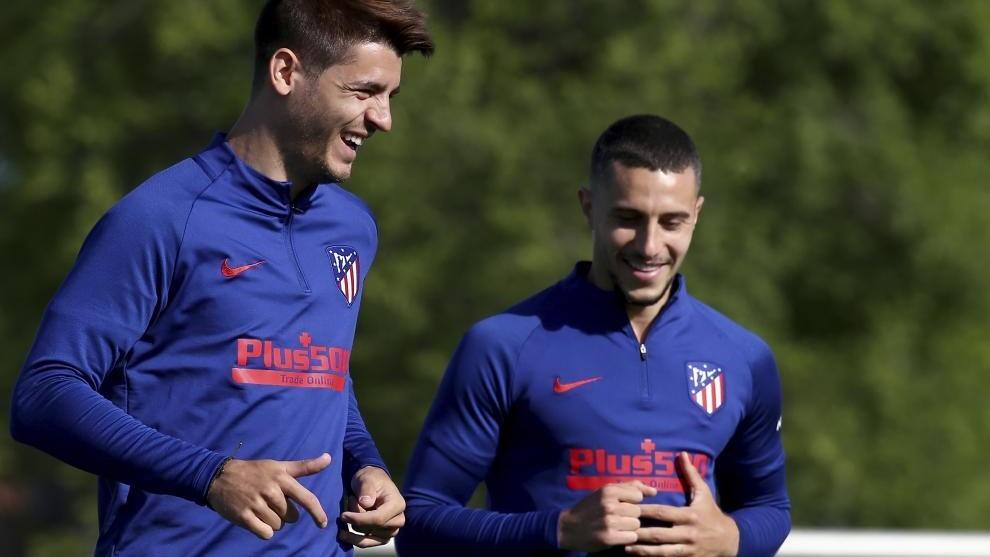 Morata y Hermoso en un entrenamiento del Atlético.
