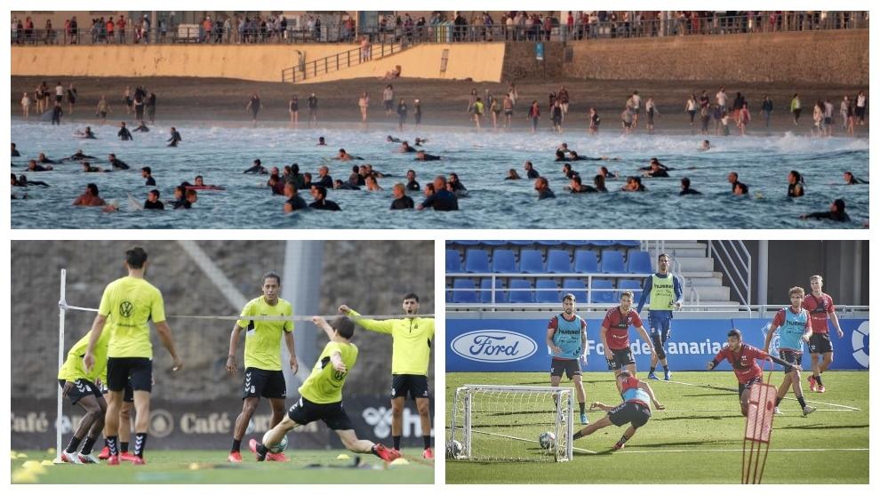 Playa de Las Canteras y entrenamientos recientes de Las Palmas y...