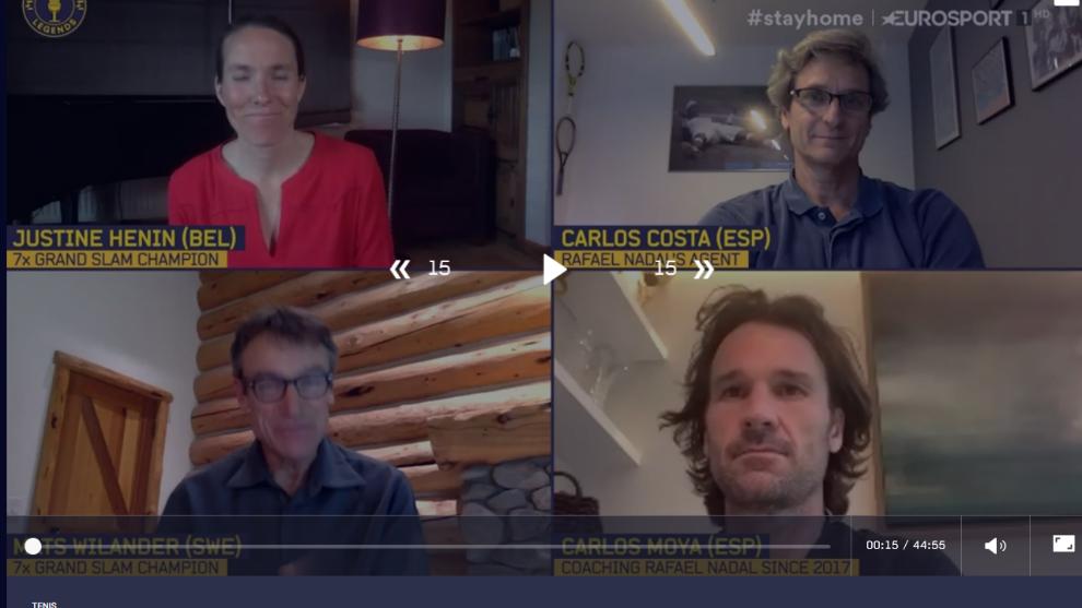 Justine Henin, Carlos Costa, Mats Wilander y Carlos Moyá