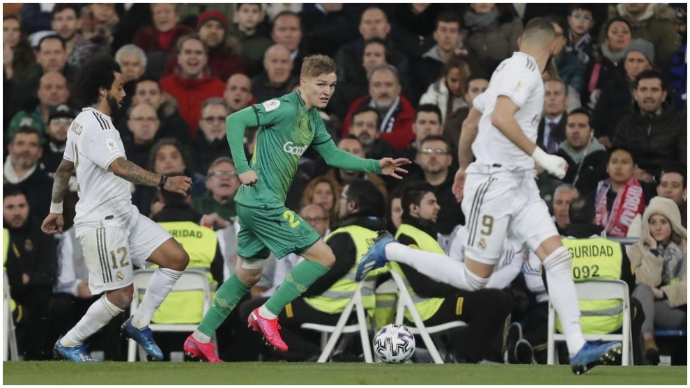 Odegaard, cedido por el Real Madrid a la Real Sociedad, durante el...