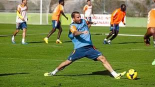 Apoño, en un entrenamiento en su etapa en Las Palmas.