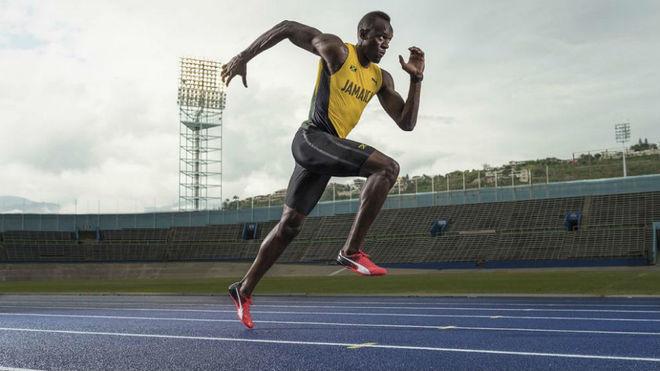 Usain Bolt, un rayo en la pista.