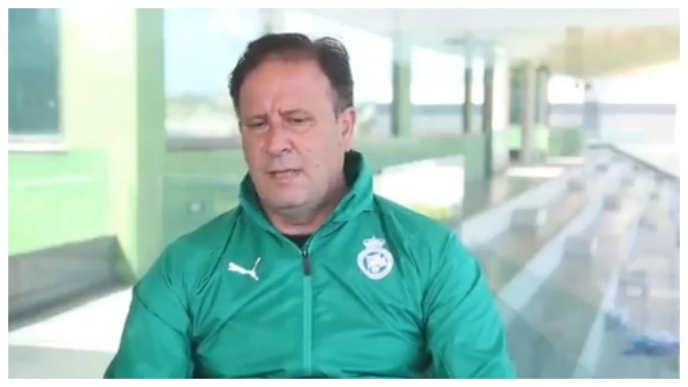 El entrenador de porteros del Racing de Santander, Emilio Isierte