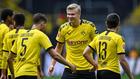 Haaland celebra un gol con el Borussia Dortmund.