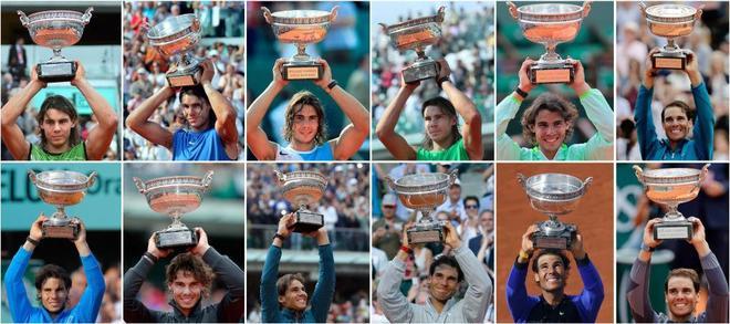 Los 12 títulos de Roland Garros de Rafael Nadal.