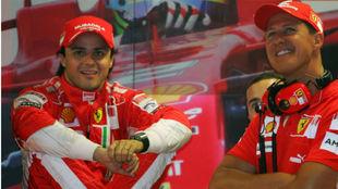 Massa y Schumacher, juntos en Ferrari.