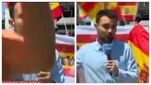 Lección de profesionalidad y paciencia de un periodista ante las provocaciones de los manifestantes
