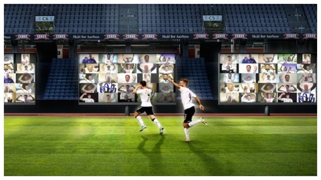 Recreación del Aarhus FG de cómo lucirá su estadio el jueves.