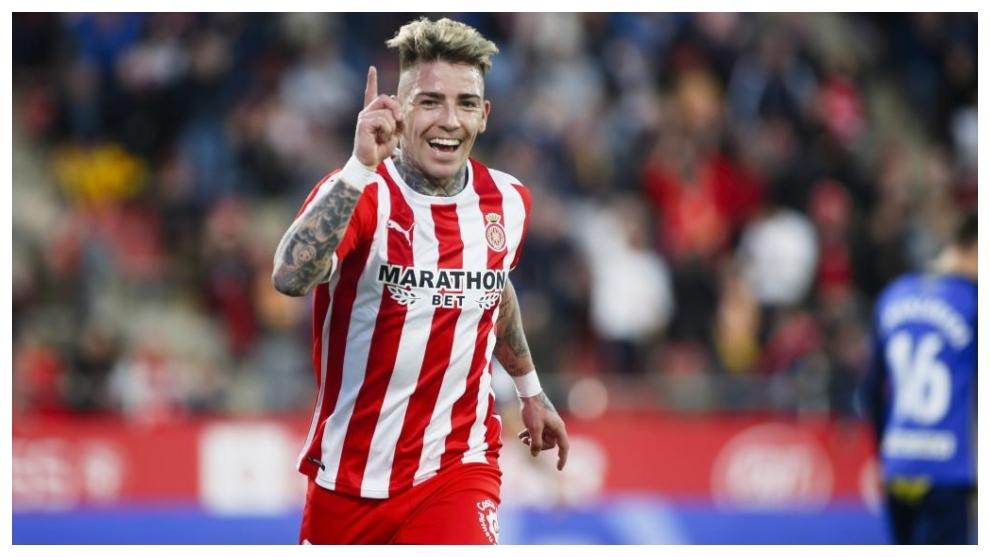 Thomas Brandon celebra uno de los goles marcados con el Girona