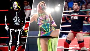 La Parka, Hana Kimura y El Perro Aguayo Jr. en el ring.