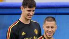 Courtois y Hazard, en un entreno con Bélgica