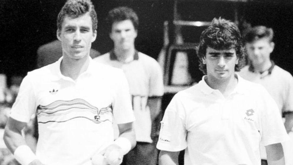 Roldán, en un partido con Lendl