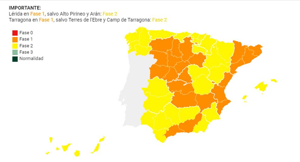 Así está el mapa de la desescalada en España desde el 25 de mayo.