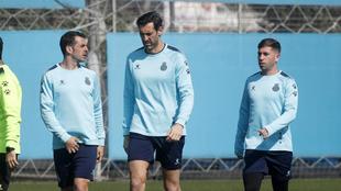 Víctor Sánchez, Diego López y Embarba en la Ciudad Deportiva.