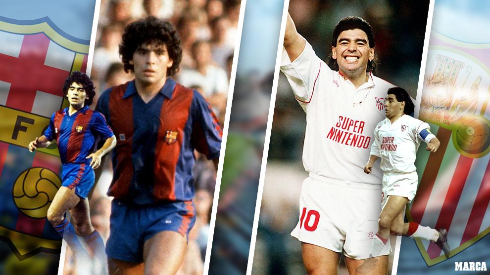 Maradona en su epoca de jugador del Barcelona y del Sevilla