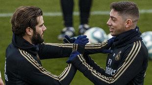 Nacho y Valverde, durante un entrenamiento