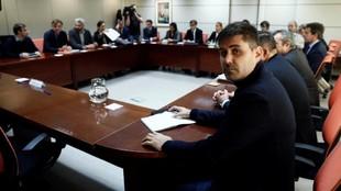 David Aganzo, presidente de AFE, durante una reunión del Convenio del...