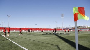 El Atlético de Madrid ejercitándose en las instalaciones del Centro...