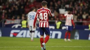 Valera, en un partido del Atlético.