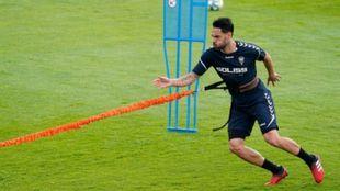 Sergio Sánchez, durante un ejercicio de esfuerzo en el entrenamiento...