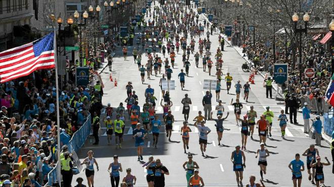 Corredores durante el Maratón de Boston de 2014.