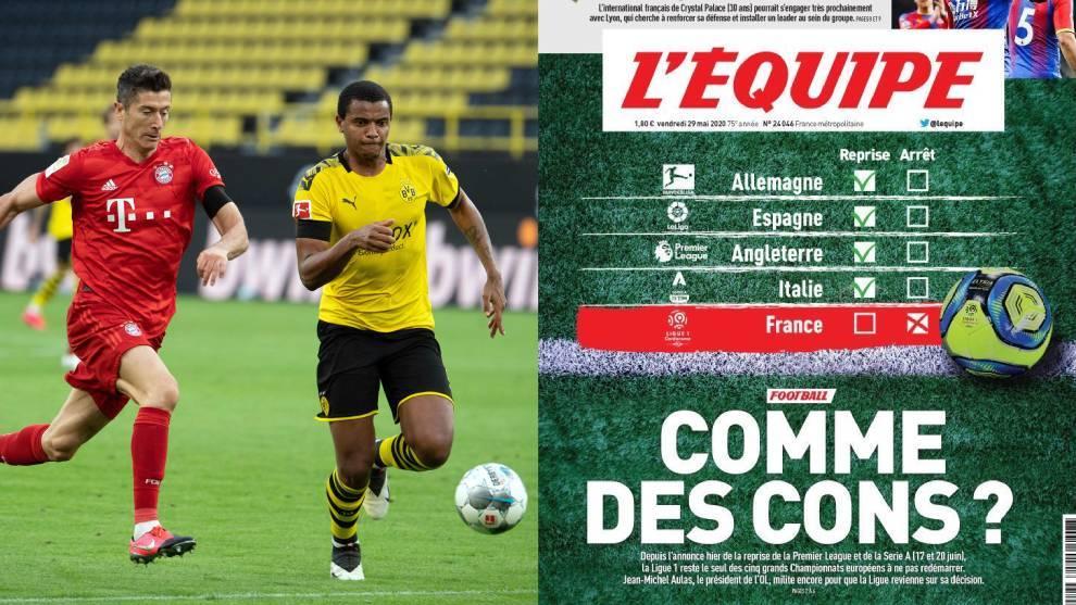 """La durísima portada de L' Equipe que llama """"idiotas"""" al fútbol francés"""