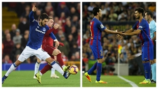 André Gomes, a la izquierda, con el Everton y, a la derecha,...