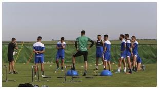 Los jugadores del Extremadura, en una sesión