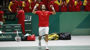 Feli López., durante la última Copa Davis