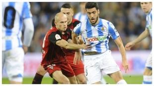 Guridi lucha con Merino en el partido copero