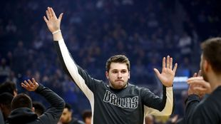 Luka Doncic, en una presentación de los Mavericks.