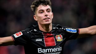 Havertz (20) celebrates for Leverkusen.