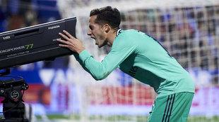 Lucas Vázquez, celebrando un gol esta temporada.