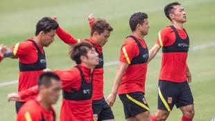 La selección china se entrena estos días en Shangái.