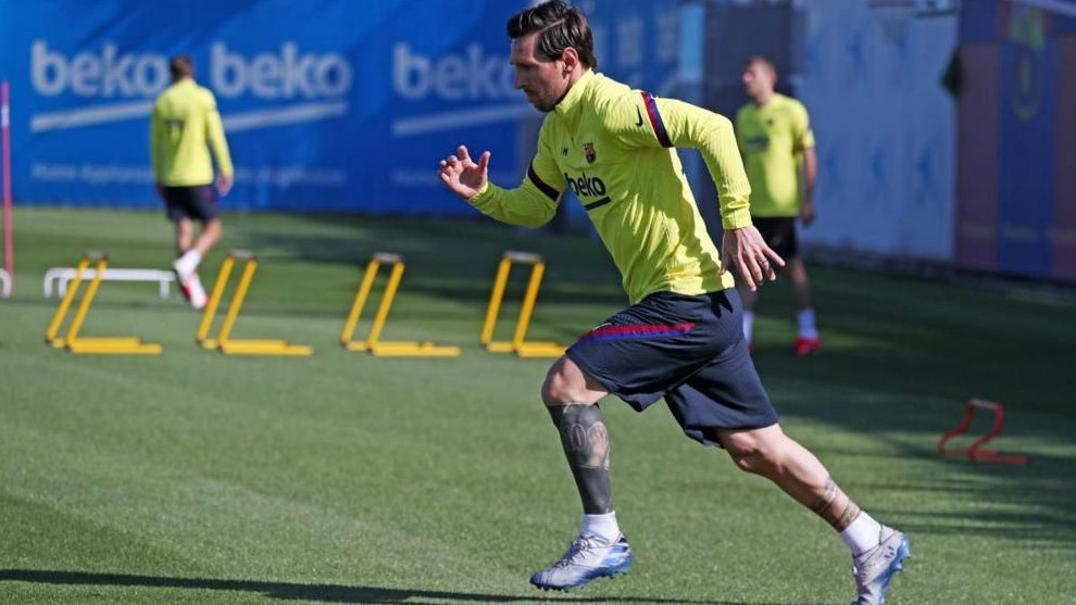 Messi during Barcelona training.