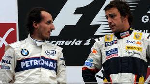 Alonso y Kubica, en el podio del Gran Premio de Japón 2008, última...