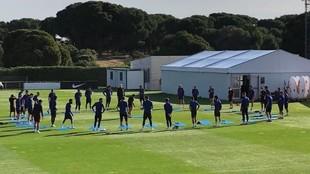 El Atlético ha realizado hoy el primer entrenamiento en grupo.