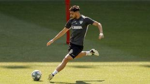 Luis Muñoz, en un entrenamiento con el conjunto malagueño