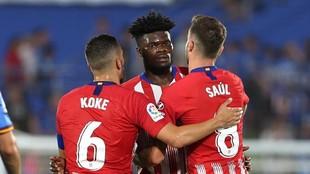 Koke, Saúl y Thomas celebran un gol del Atlético.