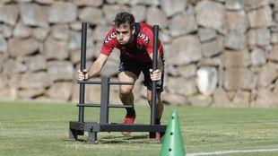 Carlos Ruiz, en un entrenamiento del Tenerife de esta temporada