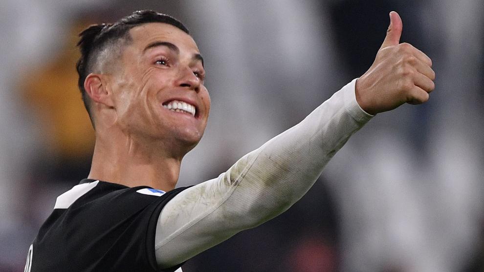 Cristiano hace un gesto durante un partido con la Juventus