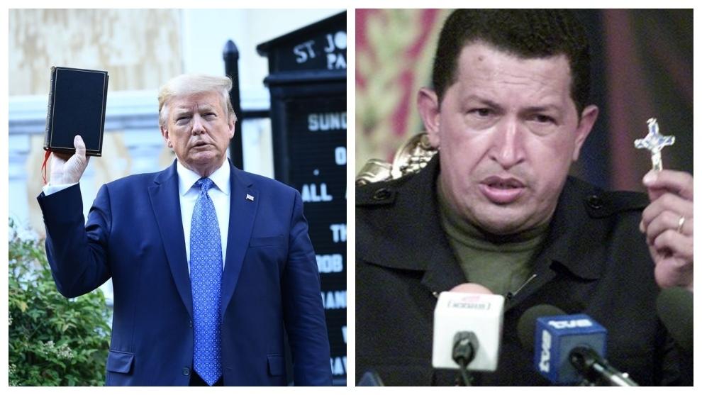 Donald Trump, la Biblia, Hugo Chávez y el crucifijo, o el recurso a...