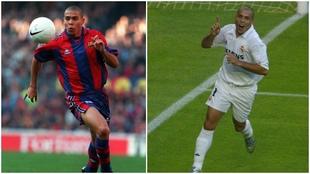 Ronaldo, en su primera temporada con el Barça (96-97) y su primera...