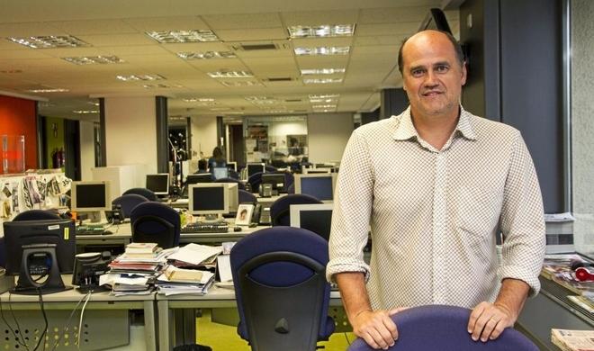 Fernando Gómez durante una visita al diario MARCA.