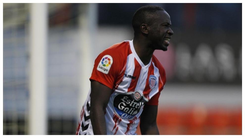 Leuko celebra uno de los goles marcados con el Lugo