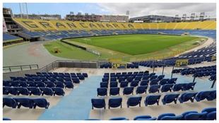 Vista de un vacío estadio de Gran Canaria