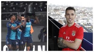 Marega (Oporto), a la izquierda de la imagen. Grimaldo (Benfica), a la...