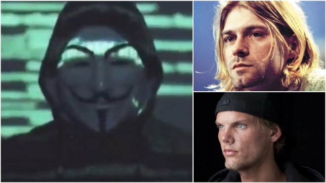Anonymous' theory about the deaths of Avicii and Kurt Cobain: They didn't commit suicide