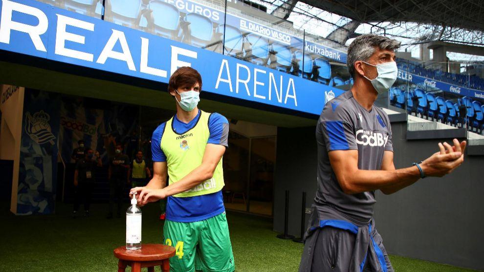 Imanol y Le Normand, a su llegada al Reale Arena.