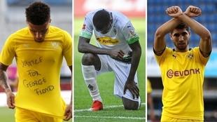 Las celebraciones de Sancho, Thuram y Achraf en apoyo a Floyd.